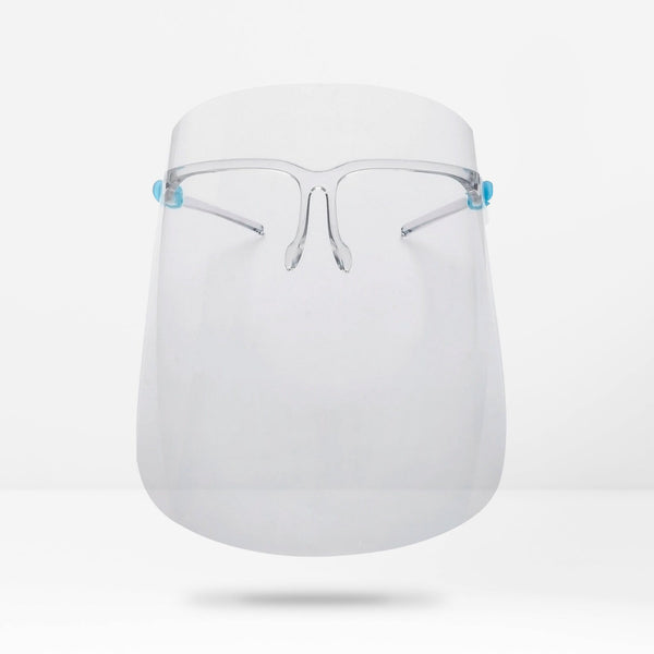 Full Coverage Reusable Safety Face Shield with Glasses Frame - 6 pack