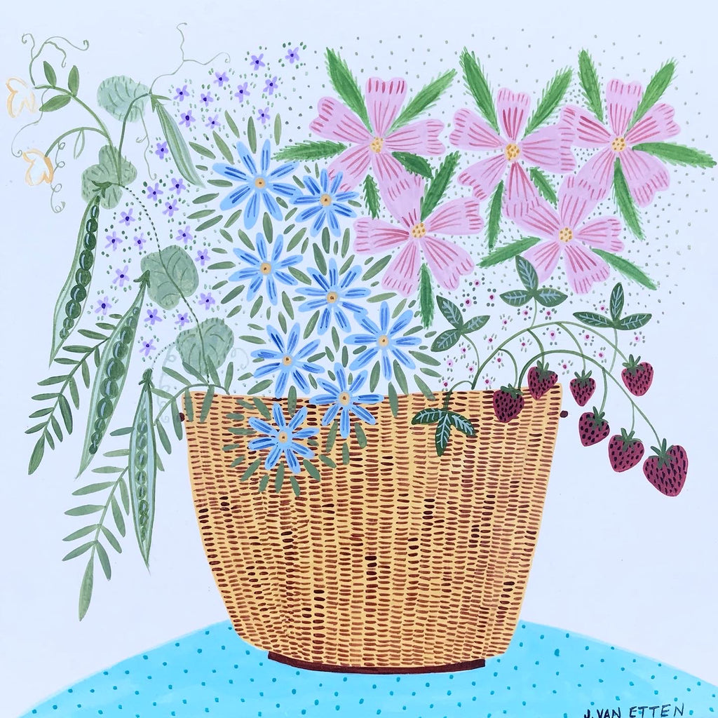 Original Artwork * Lightship Basket Garden Flowers