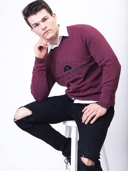 Wakerlook MENS COTTON BLEND Burgundy SWEATER