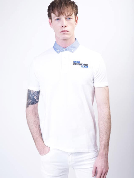 Wakerlook Polo shirt with denim collar