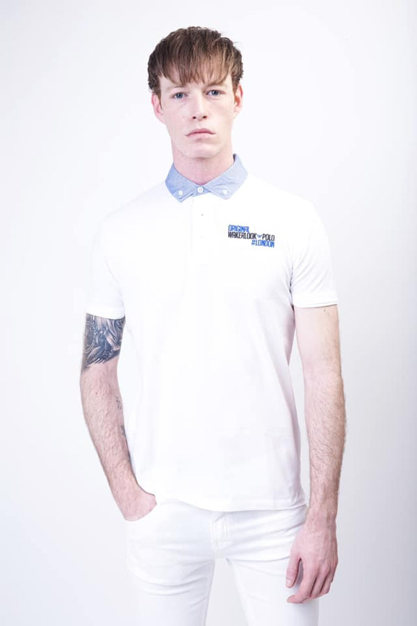 Wakerlook Polo shirt with denim collar - Wakerlook