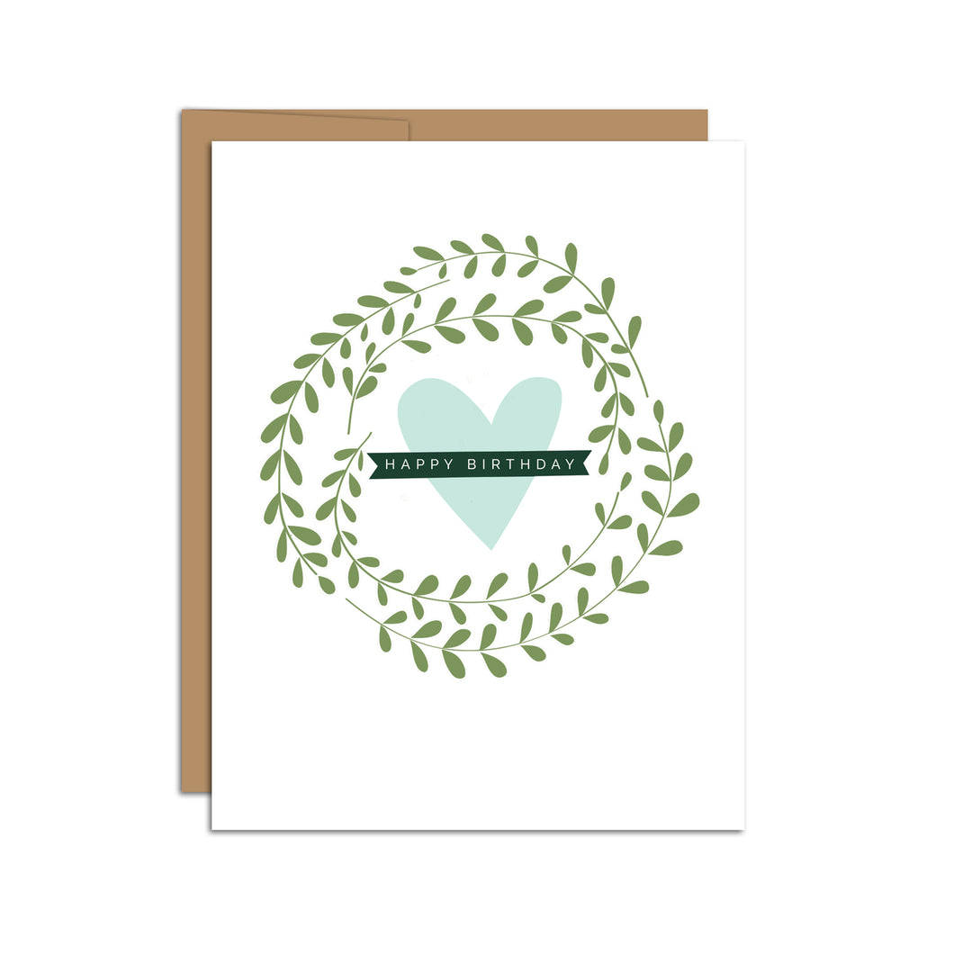 Happy Birthday (Wreath + Heart) Card