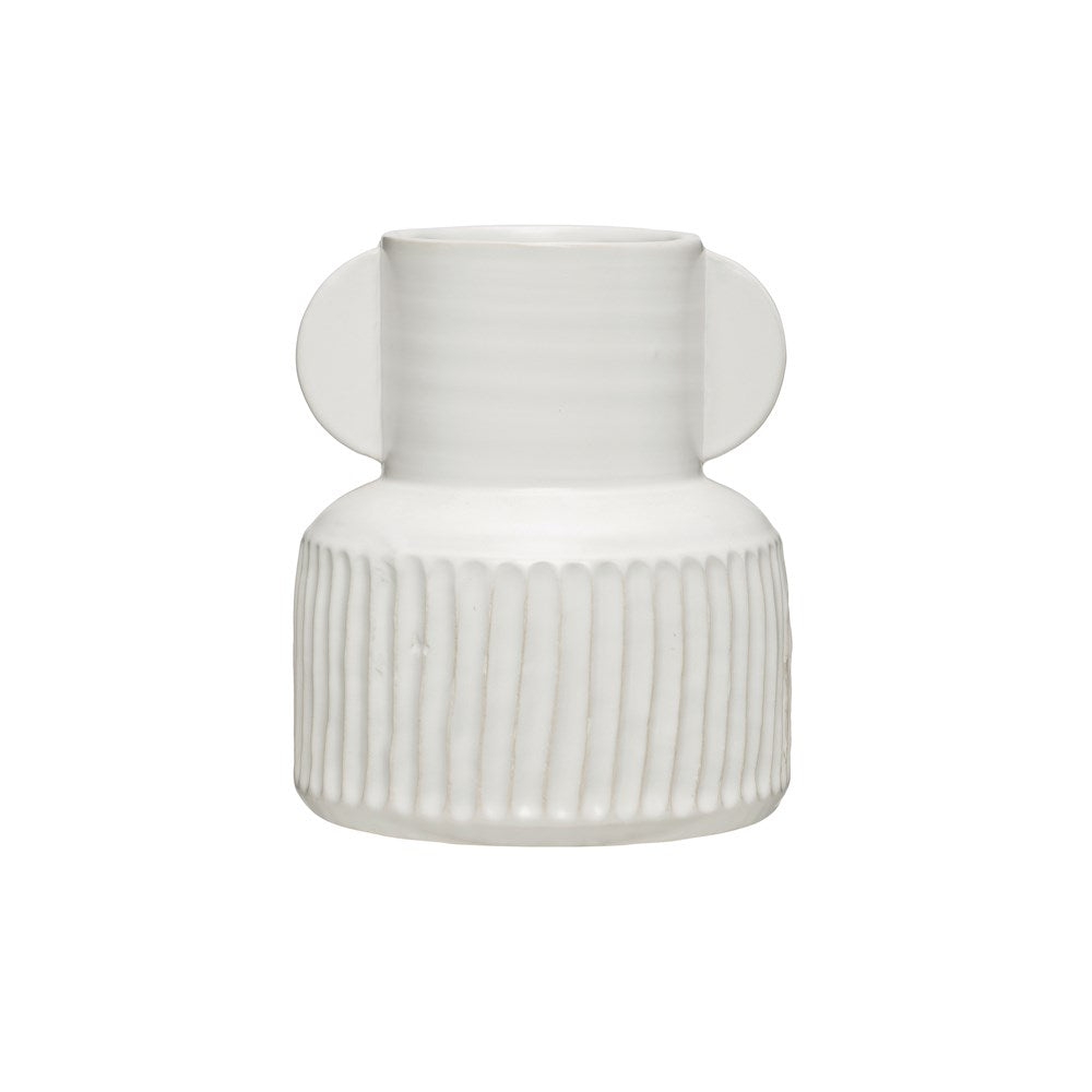 Pleated White Vase