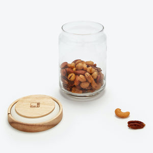 Glass Container with Wood Acacia Lid, Large