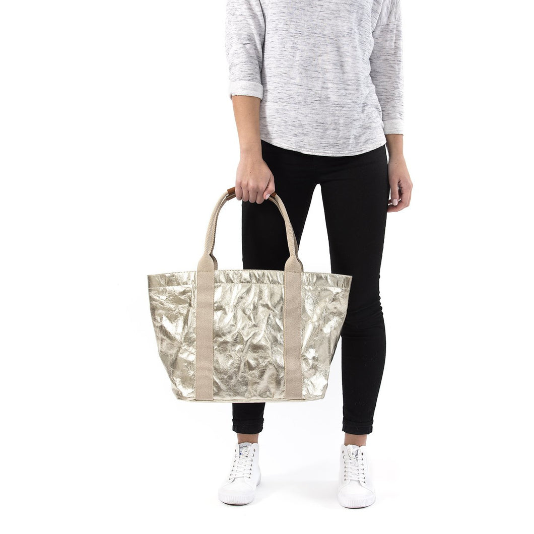 Genevieve Large Bag, Metallic Platinum