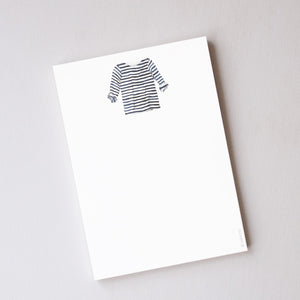 Sara Fitz Notepad, Navy + White Striped Shirt