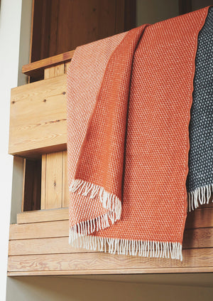 Honeycomb Wool Blanket | Rust