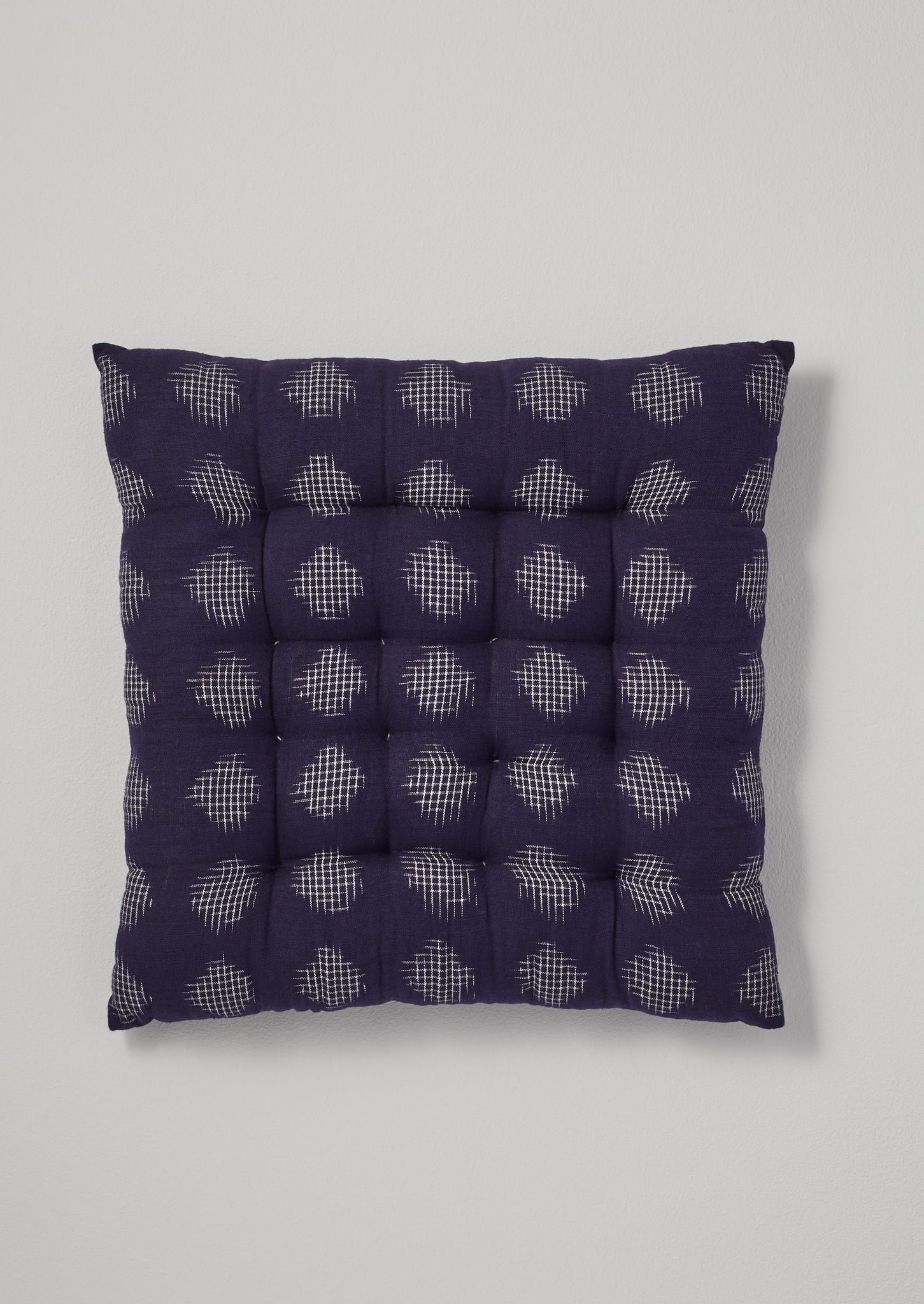 Lattice Spot Ikat Chair Cushion | Indigo