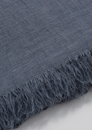Elina Linen Throw | Stone Blue