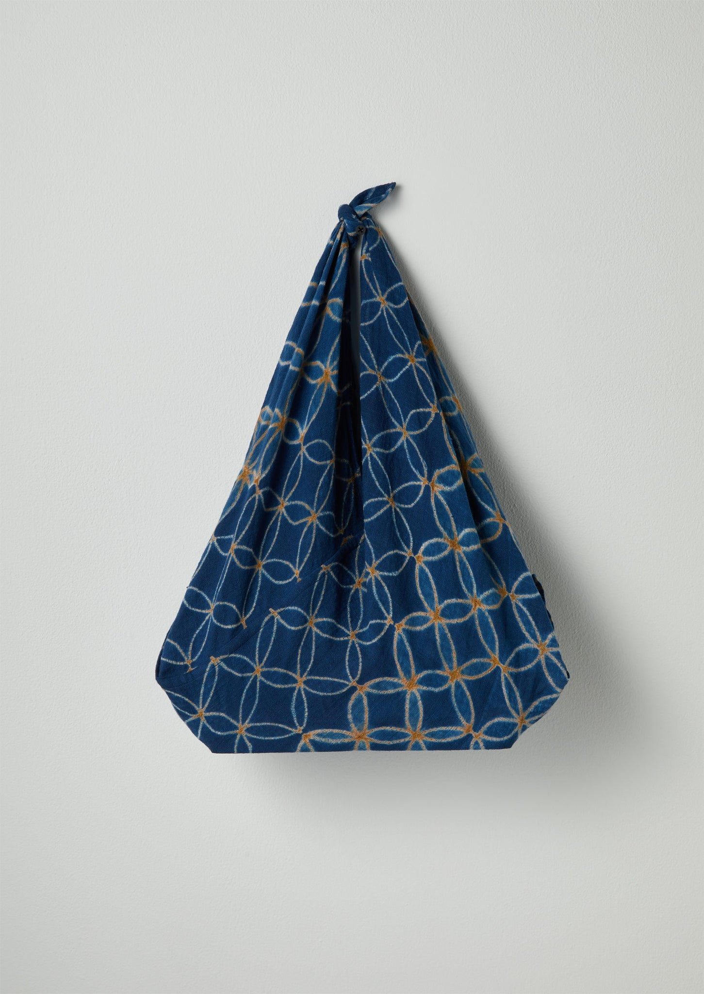 Stitched Tile Shibori Knotted Bag | Indigo/Olive
