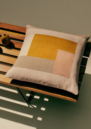 Patchwork Cushion Cover | Soft Yellow/Almond