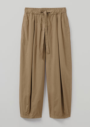 Cotton Poplin Easy Pleated Trousers | Taupe