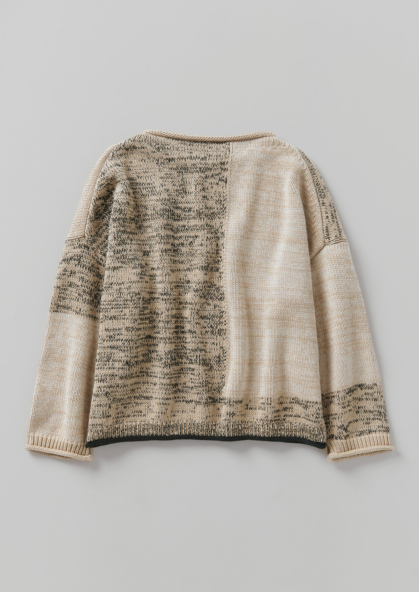 Cotton Marl Collage Sweater | Parchment