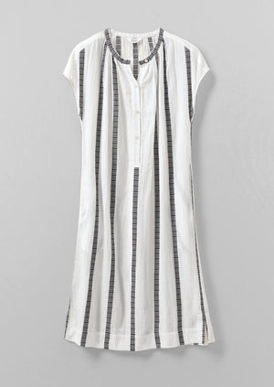 Decorative Stripe Dress | Ecru/Black
