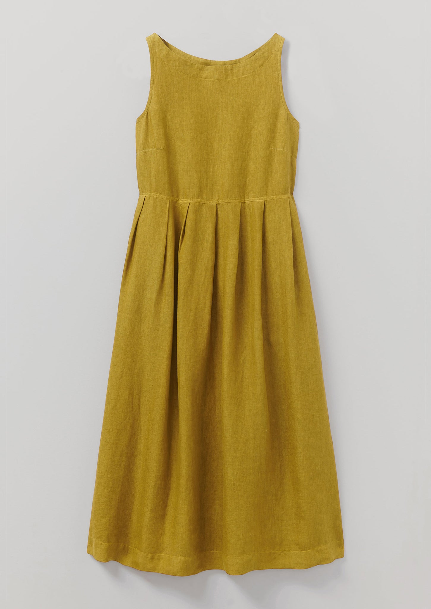 Garment Dyed Linen Pleated Dress | Bright Olive