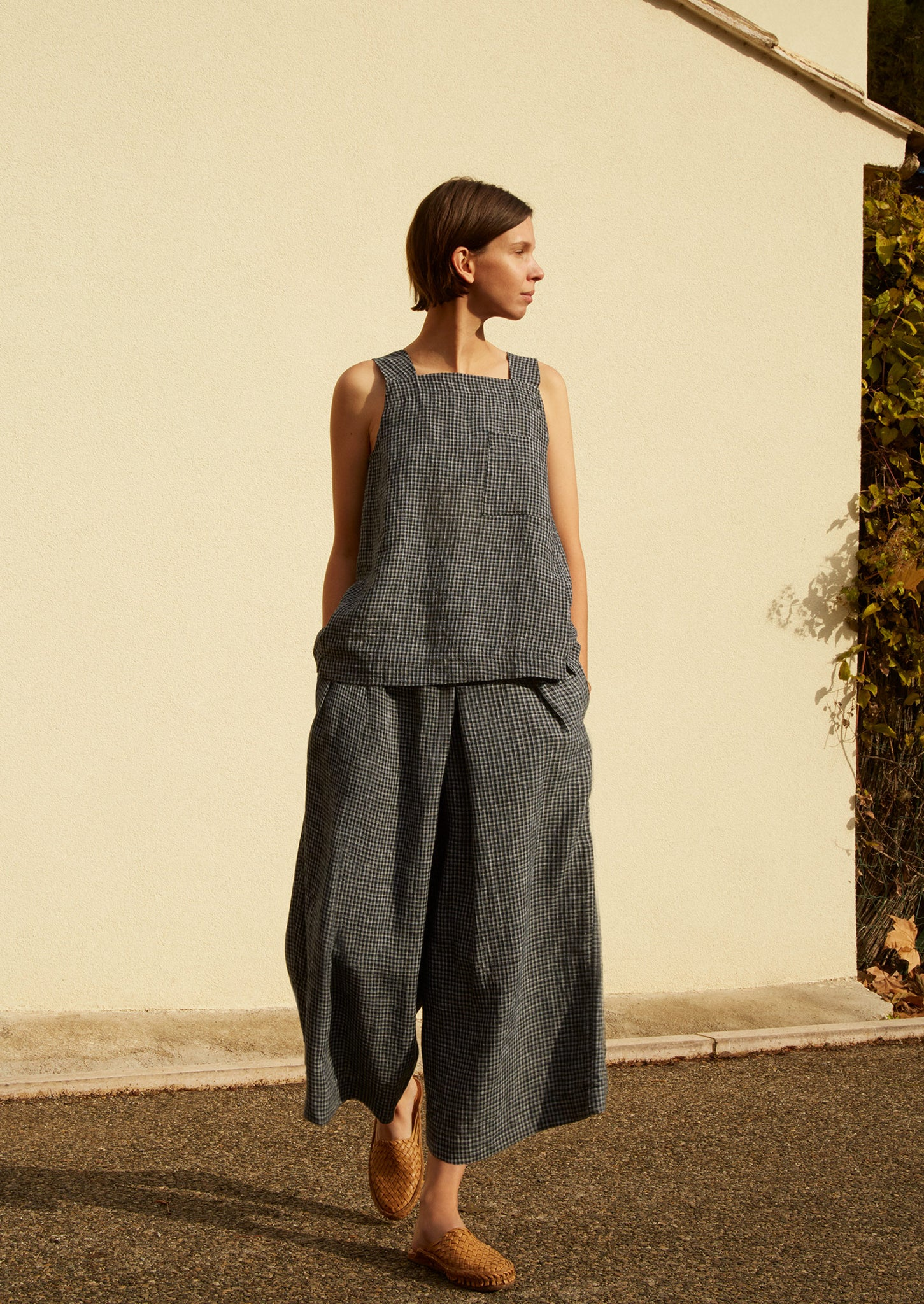 Piccolo Check Linen Culottes | Off Black/Ecru