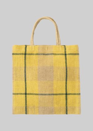 Check Jute Bag | Yellow/Natural