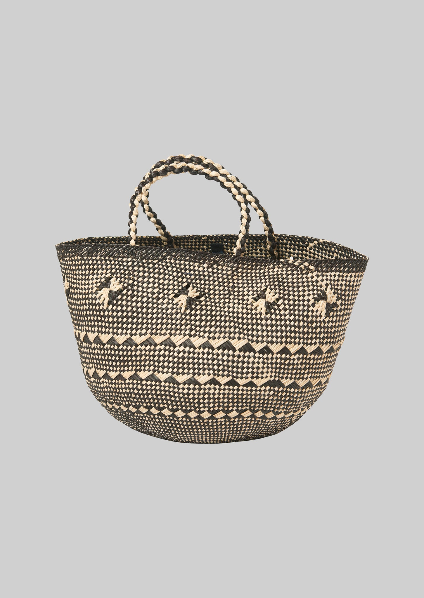 Toquilla Straw Basket | Black/White