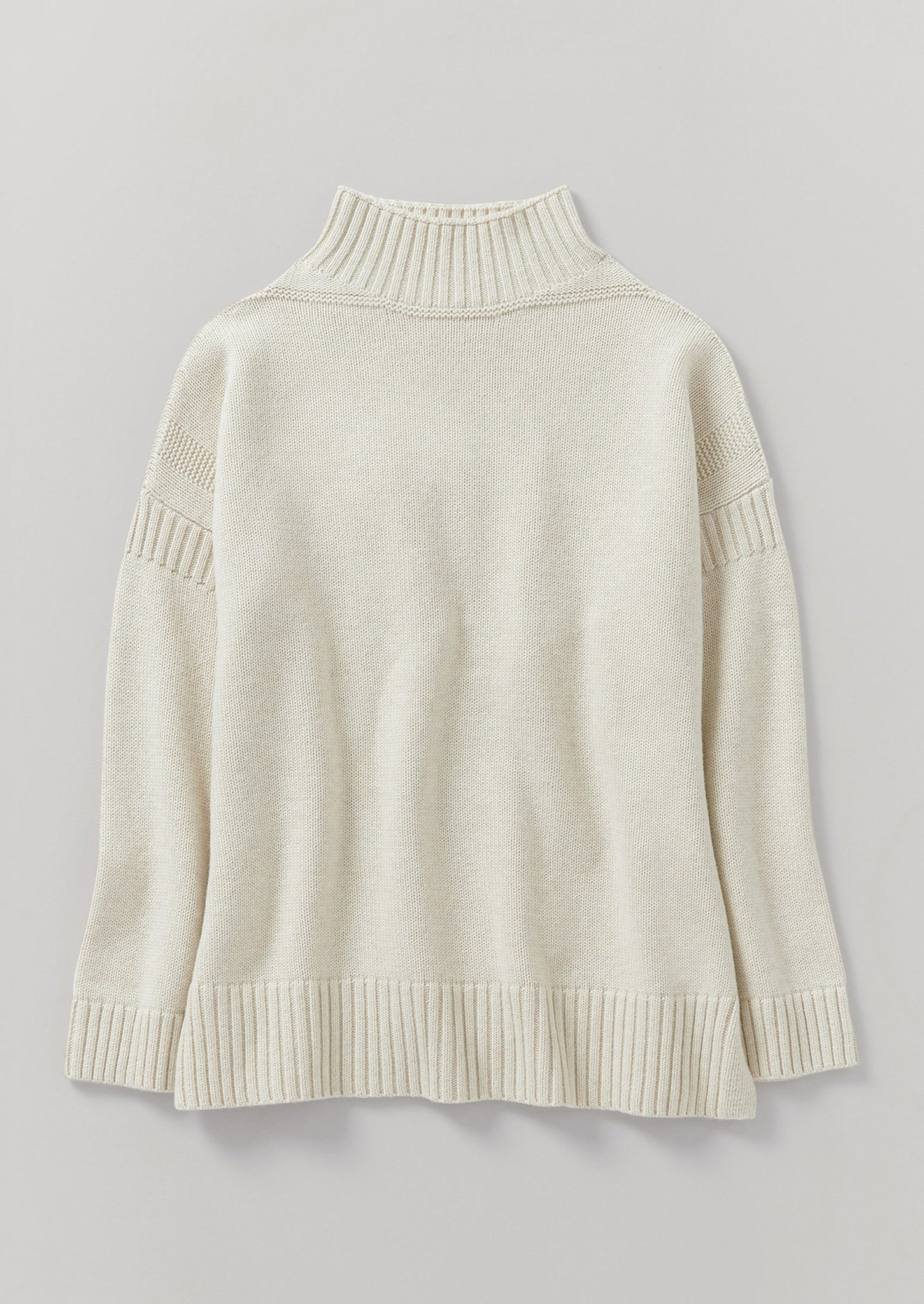 Wool Cotton Gansey Sweater | Bone