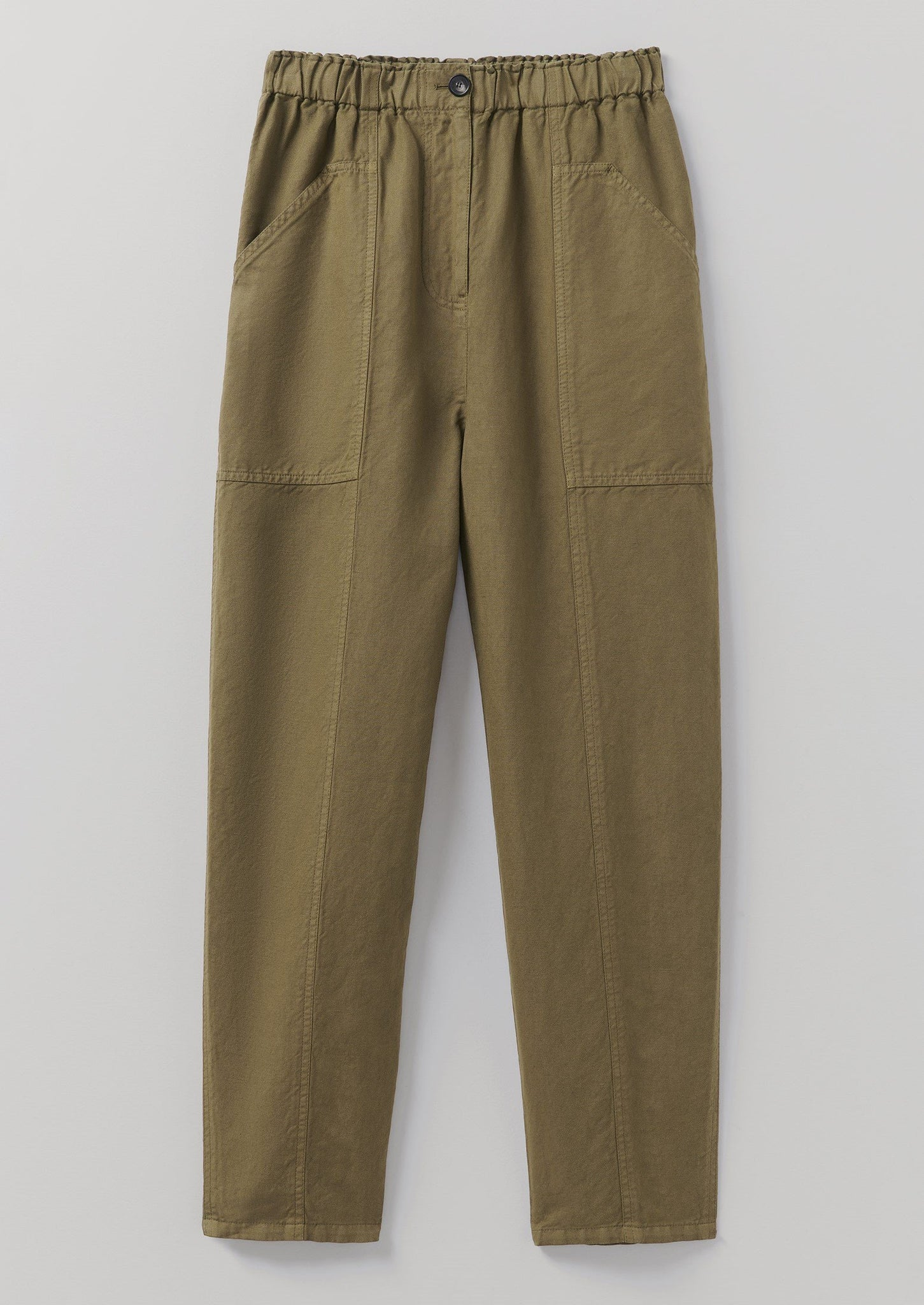 Cotton Linen Tapered Trousers | Military Olive