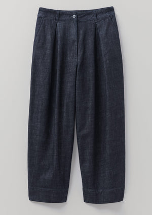 Indigo Denim Pleated Trousers | Indigo