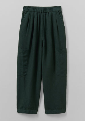 Garment Dyed Linen Trousers | Bottle Green