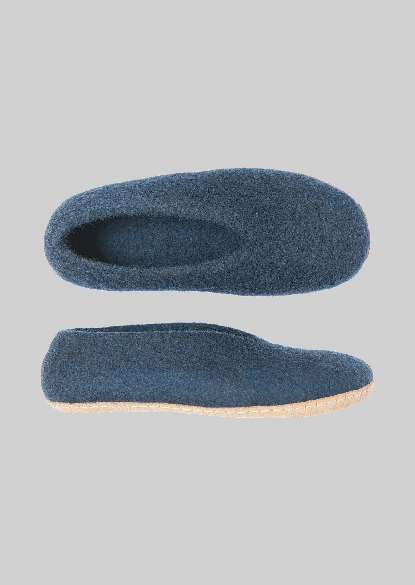 V-Front Felted Wool Slippers | Slate