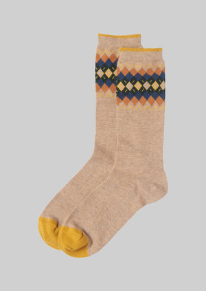 Fairisle Cotton Cashmere Socks | Oat
