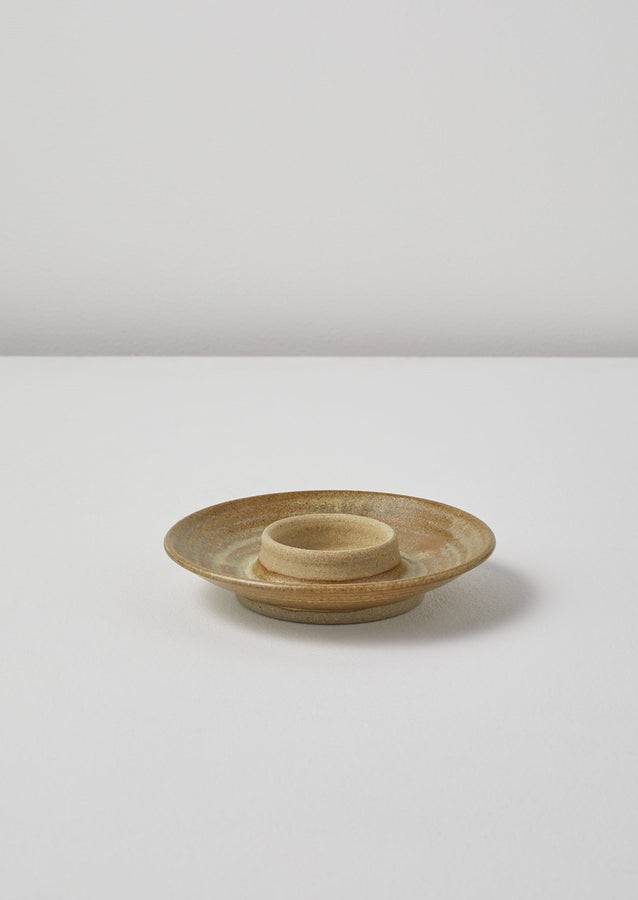 Pottery West Wide Candle Holder | Mustard