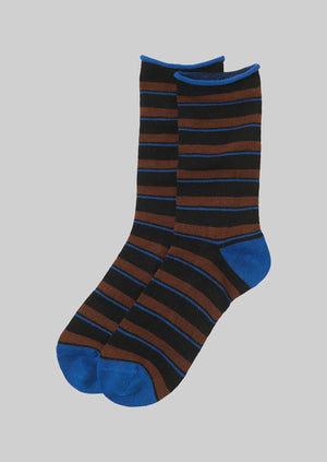 Stripe Cotton Cashmere Socks | Cocoa