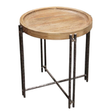 Roccoco Side Table - Elm/Iron
