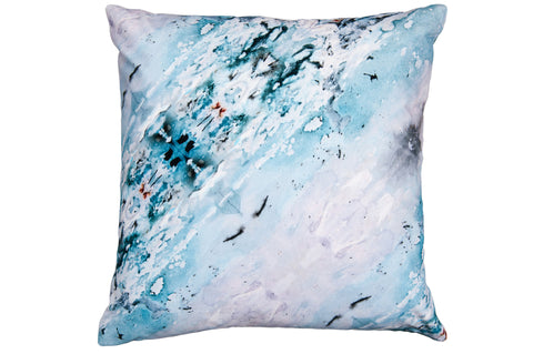 Large Azure Sea Velvet Cushion