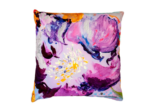 Large Hand-foiled Foxglove Velvet Cushion