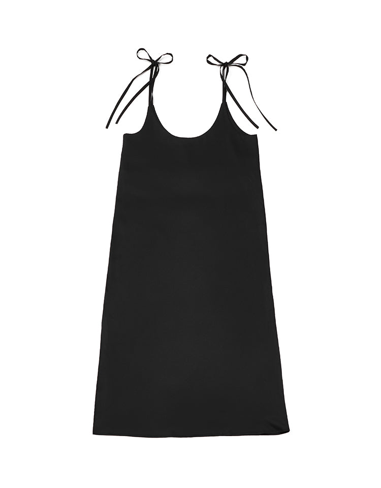 ribbon slip dress (black)