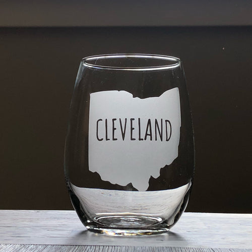 Cleveland Ohio Stemless Wine, Rocks or Beer Can Glass