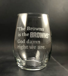 Cleveland Browns Stemless Wine Glass