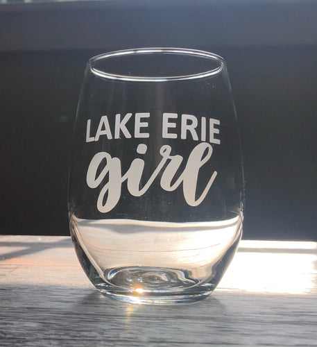 Lake Erie Girl Stemless Wine, Rocks or Beer Can Glass