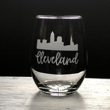 Load image into Gallery viewer, Cleveland Script Skyline Stemless Wine, Rocks or Beer Can Glass
