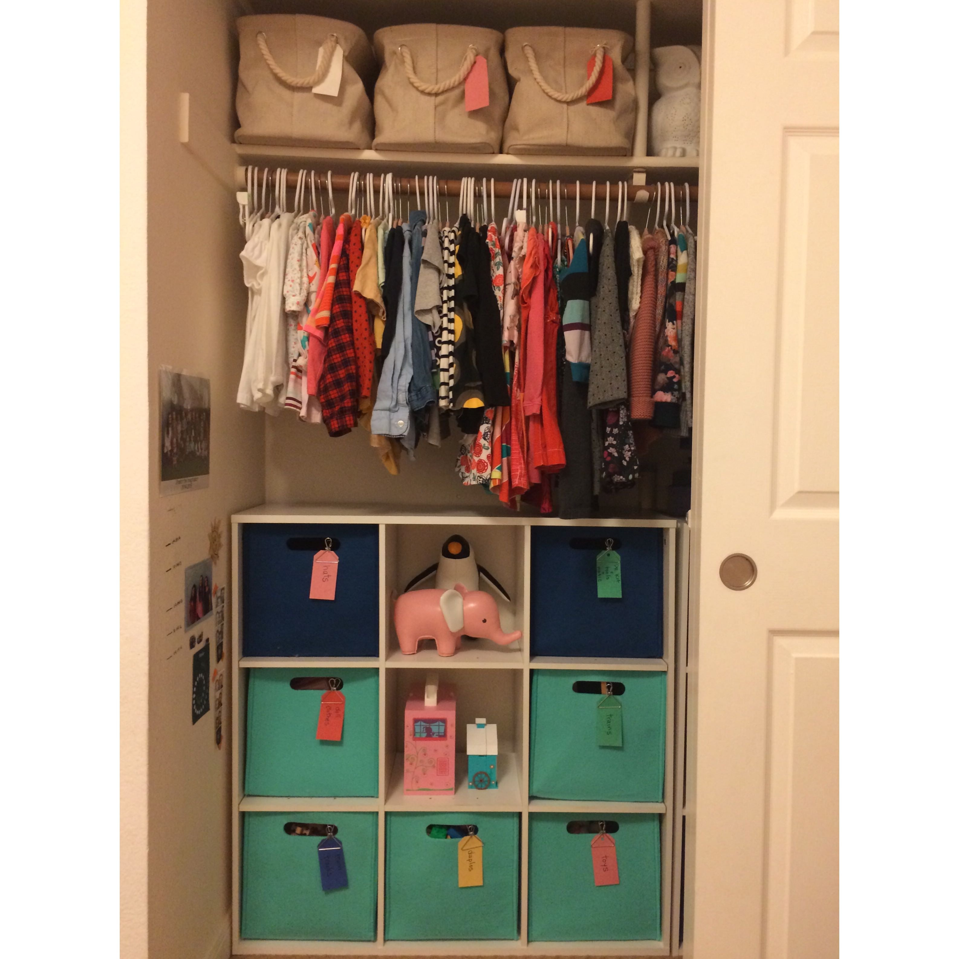 Lisa Ruff, Childrens closet, girls room, girls clothes, little girl, storage, labels, home, home organization, home organizer