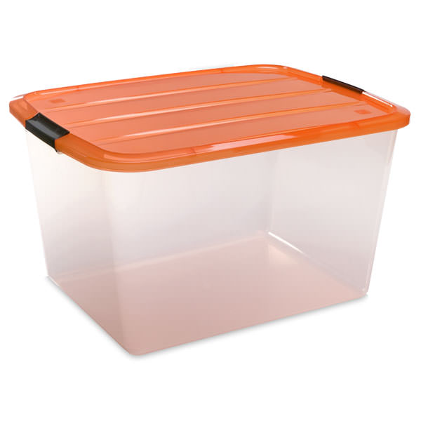 halloween storage, how to store decorations, decoration storage, plastic bin, storage bin, bin with orange lid, halloween, organized home