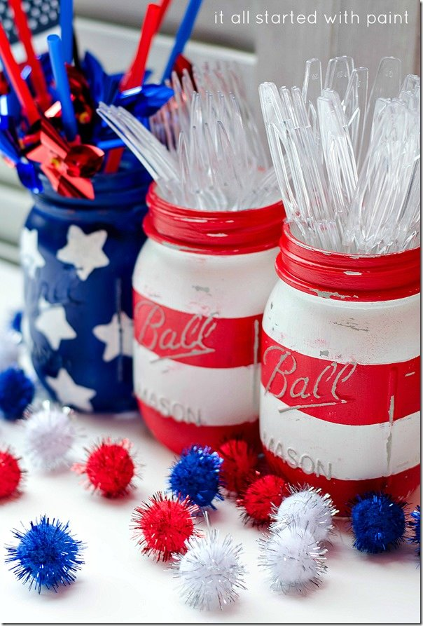 4th of July, Fourth of July, American Flag, Stars and Stripes, American, USA, American pride, diy, american flag mason jars, mason jars, diy mason jars, 4th of july party decor, 4th of july theme party