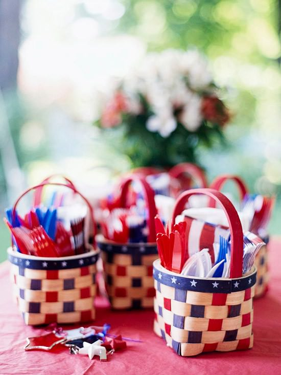 red white and blue, red, white, blue, all american, america, 4th of july, plastic ware, DIY, table setting