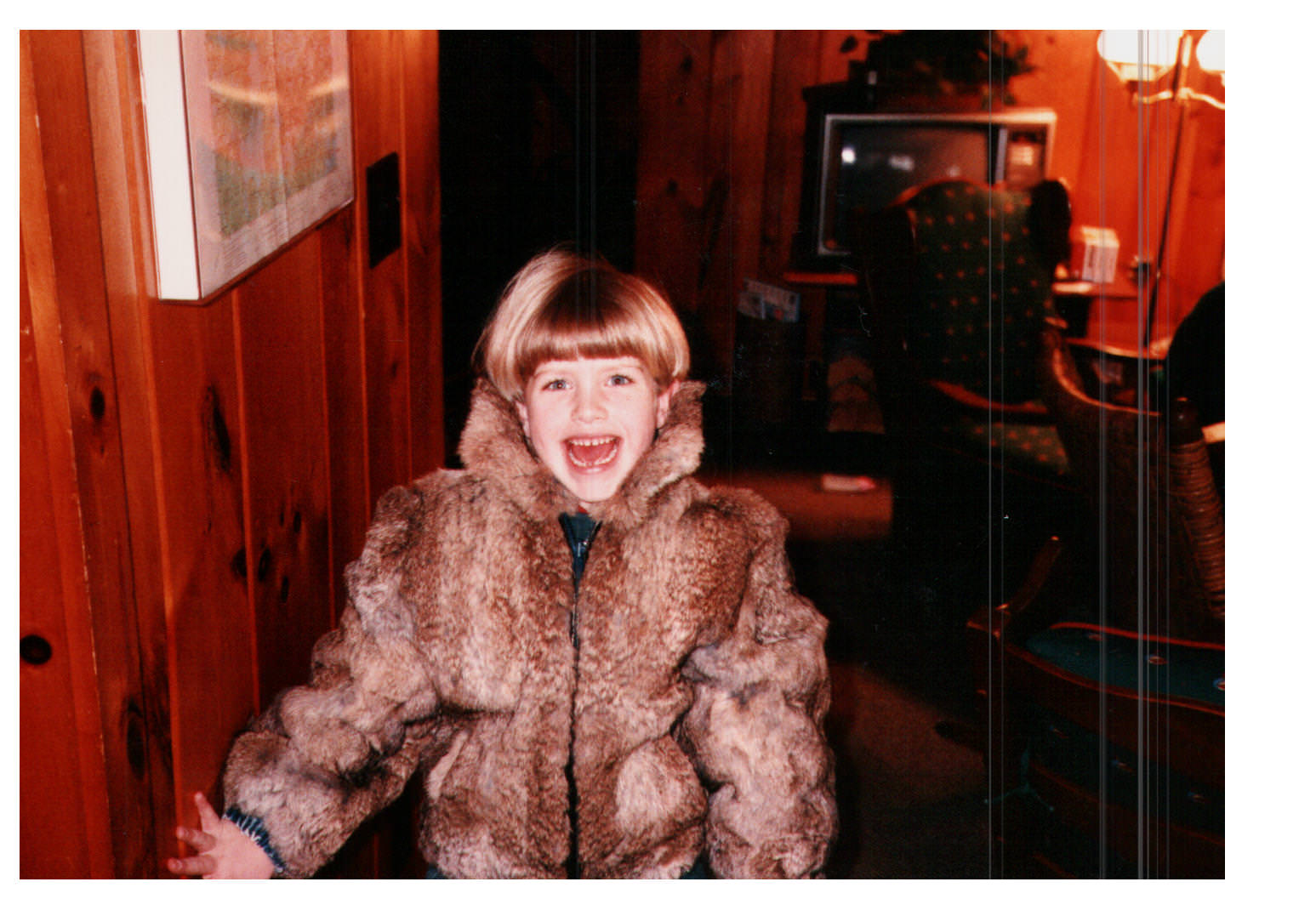 Fur coat, coat, bowl cut, little girl, happy girl, Molly Graves, Molly Heffinger Graves, Wisconsin, Boulder Junction, White Sand Lake