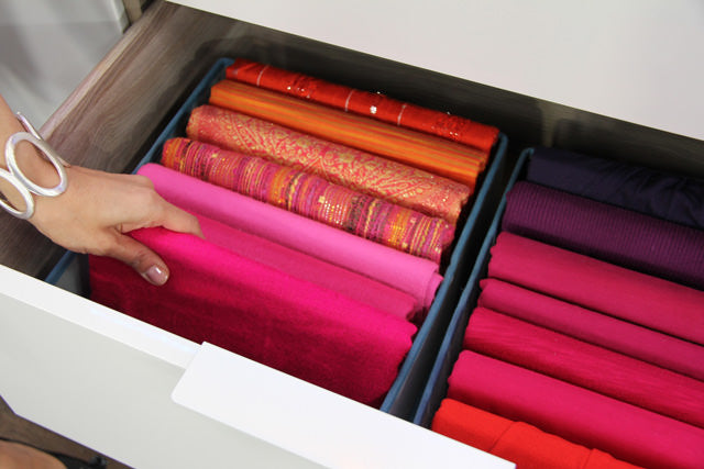 scarf organizer, organizing scarves, how to organize scarves, organizing tips, bedroom drawer, pretty scarves