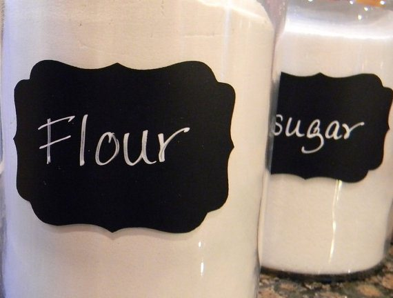 chalkboard labels, baskets, containers, storage, organization