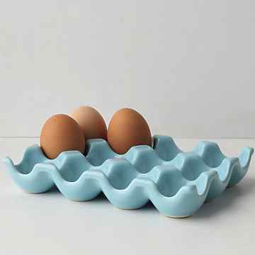 Ceramic egg crate, blue crate, eggs, Kitchen organization, organizing tips, refridgerator