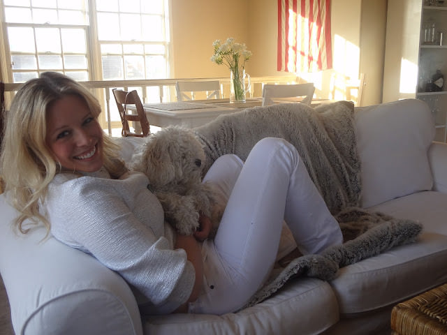 hot girl, white, poodle, couch