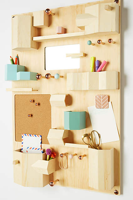 Anthropologie, home office, command center, organized office, organized home, natural organization, modern office, modern style, wooden storage, desk organizer, simple home