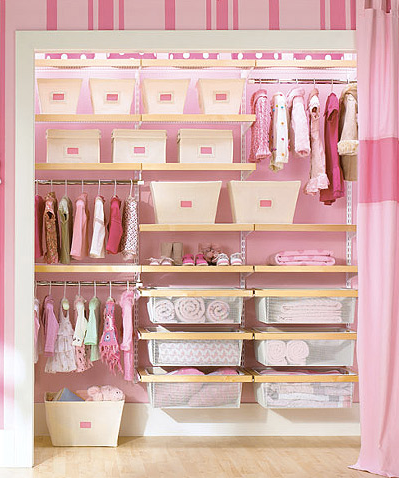 Baby Closet, Organized, Clothes, NEAT Method, Pink Closet, Closet Baskets