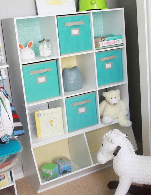 organized shelf, baby room, baby, NEAT Method, green bins, white shelf